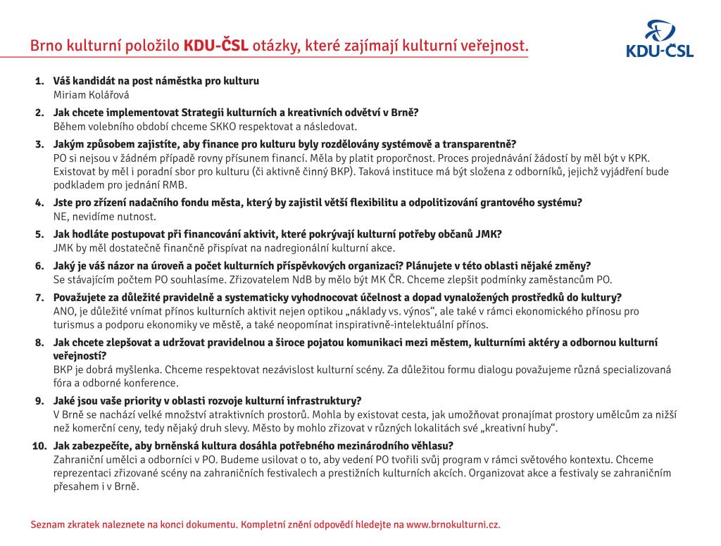 Odpovědi KDU-ČSL